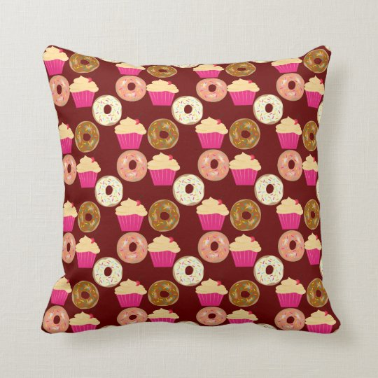 Cute Doughnuts & Cupcakes Throw Pillow