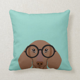 Cute Doxie with Hipster Fashion Glasses - Daschund Throw Pillow