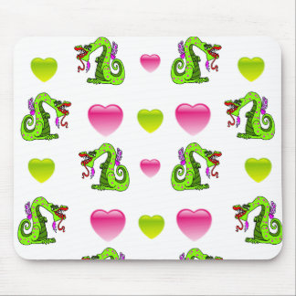 Cute Dragon And Hearts Mousepad