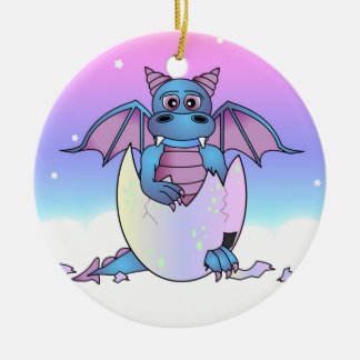 Cute Dragon Baby in Cracked Egg - Blue / Purple Round Ceramic Ornament