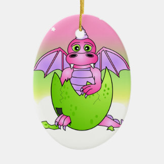 Cute Dragon Baby in Cracked Egg - Pink / Purple Ceramic Oval Ornament