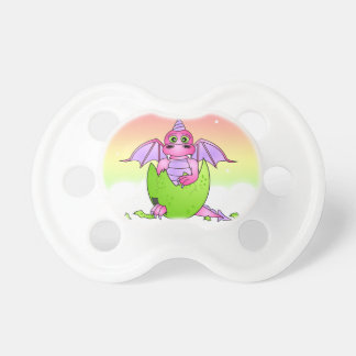 Cute Dragon Baby in Cracked Egg - Pink / Purple Pacifier