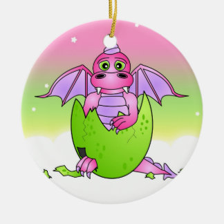 Cute Dragon Baby in Cracked Egg - Pink / Purple Round Ceramic Ornament