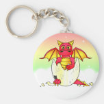 Cute Dragon Baby in Cracked Egg - Red / Yellow Basic Round Button Keychain