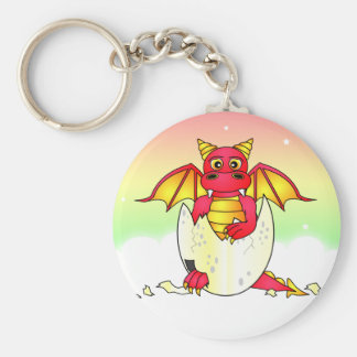 Cute Dragon Baby in Cracked Egg - Red / Yellow Key Chain