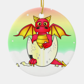 Cute Dragon Baby in Cracked Egg - Red / Yellow Round Ceramic Ornament