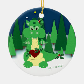 Cute Dragon: Baby's 1st Christmas Ceramic Ornament