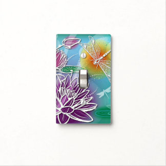 Cute Dragon Fly Pretty Summer Colors Modern Floral Light Switch Cover