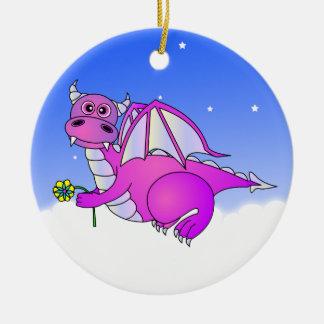 Cute Dragon Flying in the Clouds - Blue / Purple Ceramic Ornament