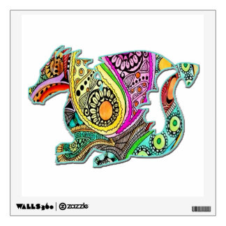 Cute Dragon Sitting Colorful Wall Decal