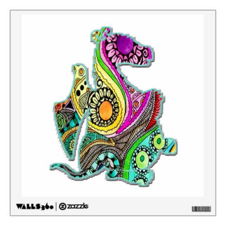 Cute Dragon Sitting Facing Rt Colorful Wall Decal
