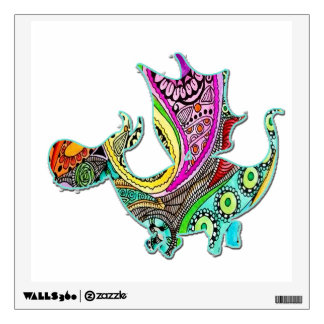 Cute Dragon Standing Facing RT Colorful Wall Decal
