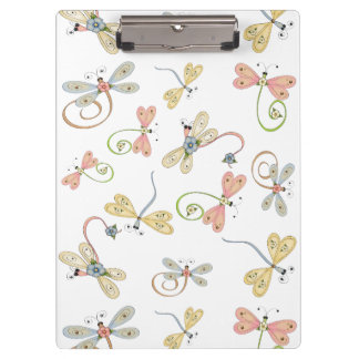 Cute Dragonflies Pink Yellow Blue Clipboard