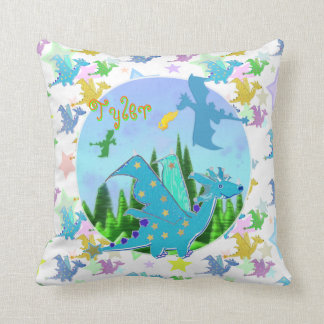 Cute Dragons with customizable Name Tyler Throw Pillow
