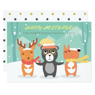 Cute drawing christmas characters Christmas Card