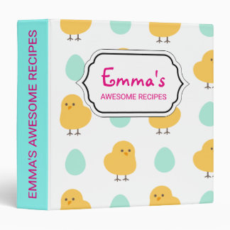 Cute drawn yellow chick and egg easter pattern 3 ring binders