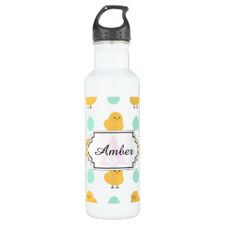 Cute drawn yellow chick and egg easter pattern 710 ml water bottle