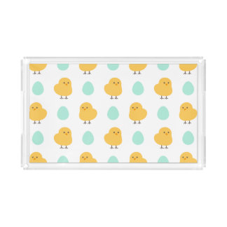 Cute drawn yellow chick and egg easter pattern acrylic tray