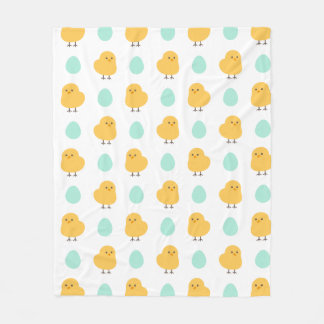 Cute drawn yellow chick and egg easter pattern fleece blanket