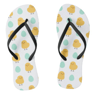 Cute drawn yellow chick and egg easter pattern flip flops