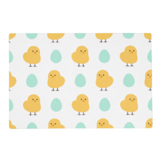 Cute drawn yellow chick and egg easter pattern laminated placemat
