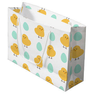 Cute drawn yellow chick and egg easter pattern large gift bag
