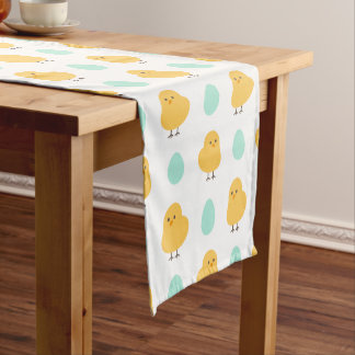 Cute drawn yellow chick and egg easter pattern short table runner