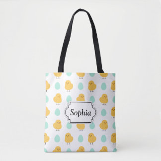 Cute drawn yellow chick and egg easter pattern tote bag