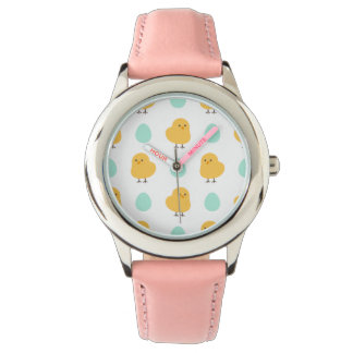 Cute drawn yellow chick and egg easter pattern wrist watch