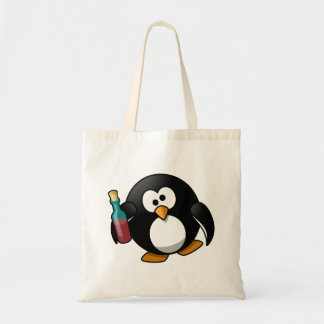 Cute Drunken Penguin Art Canvas Bag