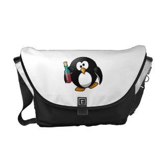 Cute Drunken Penguin Art Courier Bags