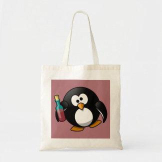 Cute Drunken Penguin Art on Purple Canvas Bags