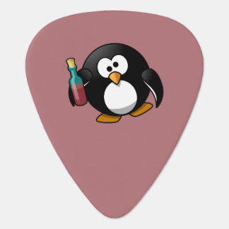 Cute Drunken Penguin Art on Purple Guitar Pick
