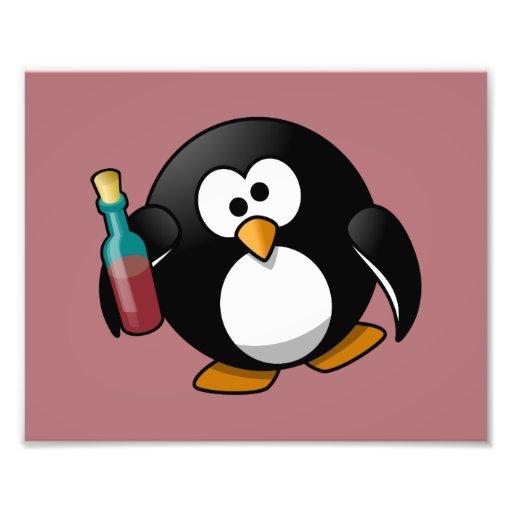 Cute Drunken Penguin Art on Purple Photograph
