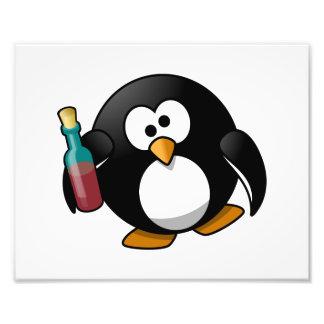 Cute Drunken Penguin Art Photo Print