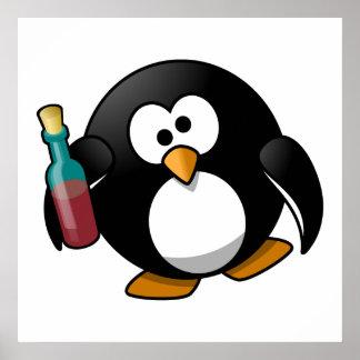 Cute Drunken Penguin Art Print