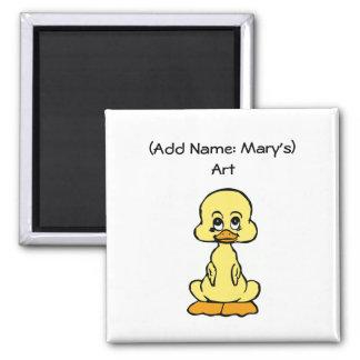 Cute Duck Children's Art Holder Custom Name Square Magnet