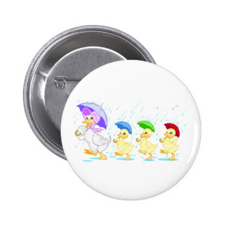 Cute Duck Family in Rain 2 Inch Round Button