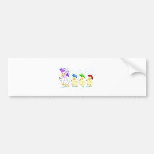 Cute Duck Family in Rain Bumper Stickers