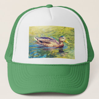 Cute Duck Swimming Trucker Hat