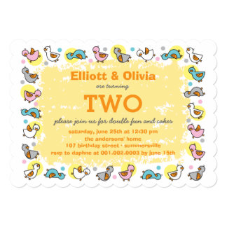 "Cute Duckies Boy Girl Twins Joint Birthday Party 5"" X 7"" Invitation Card"