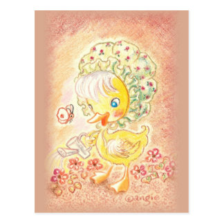 Cute Duckling In Bonnet Postcard