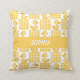 Cute Ducks (Yellow) Throw Pillow