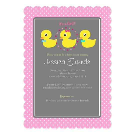 Cute ducky girl baby shower invitation