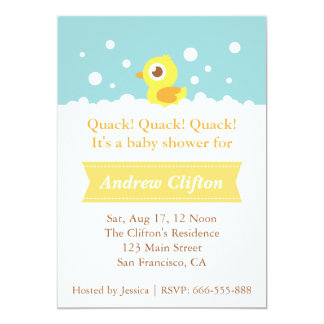 """Cute Ducky with Bubbles Baby Shower Party 5"""" X 7"""" Invitation Card"""