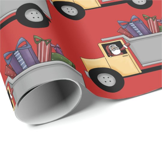 Cute Dump truck pattern driving Santa party wrap Wrapping Paper
