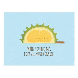 Cute Durian Love Mushy Valentines Day Postcard