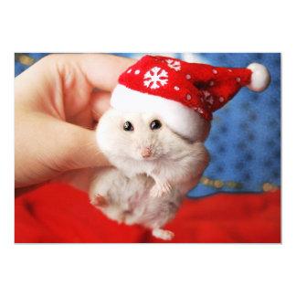 Cute dwarf hamster Tutku with Santa Claus hat Card