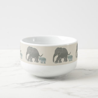 Cute Earth Colored Elephant Mother and Baby Soup Mug