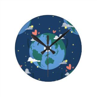cute Earth Day Round Clock